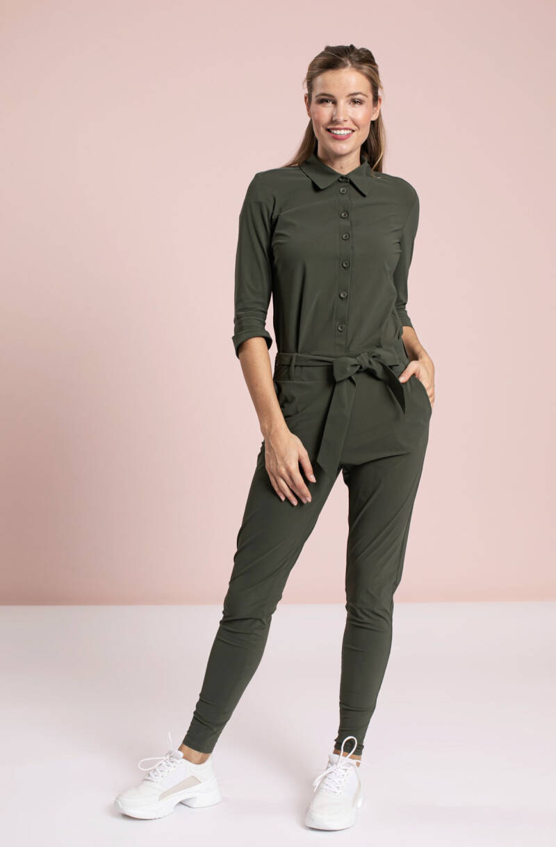 Angelique jumpsuit 3/4 with cuff green