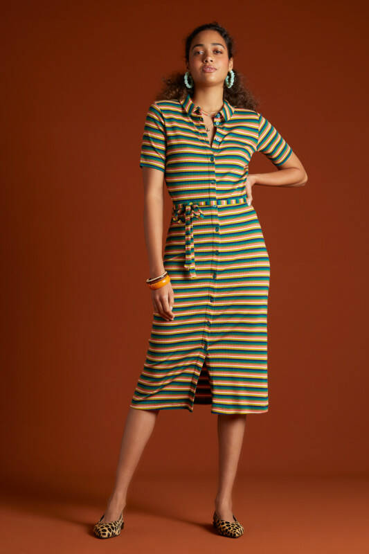 Rose Slim Fit Dress Daydream Stripe - Eden Green
