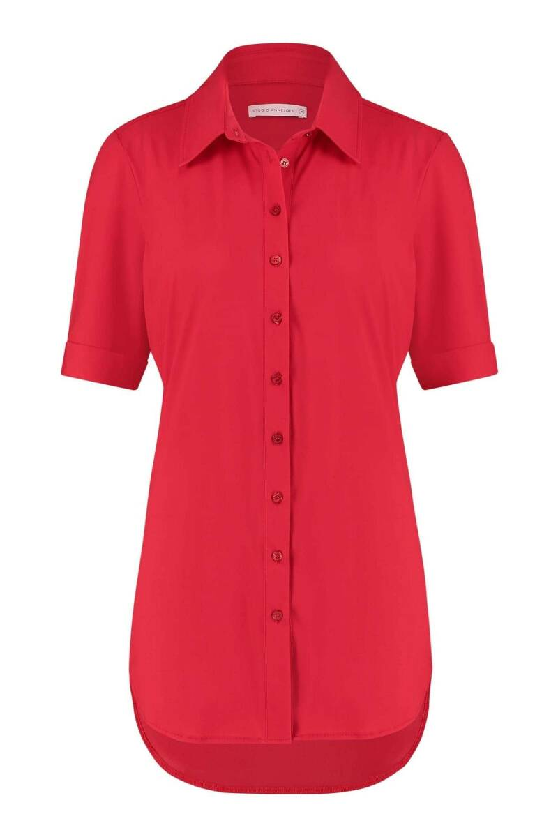 Poppy blouse SS fold cuff red