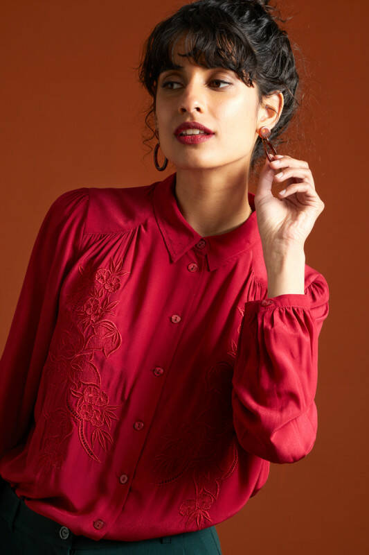 Carina Blouse Bellezza  Cherry Red