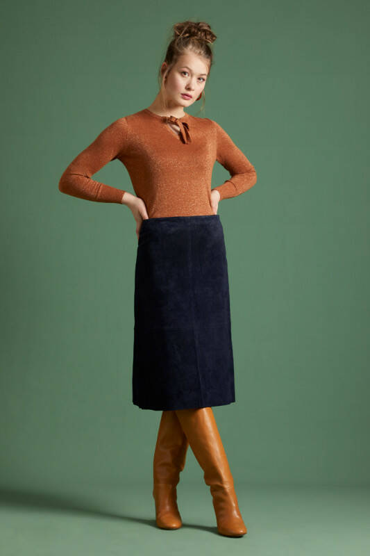 King Louie Juno Skirt Suede - Night-Sky Blue laatste maat 36