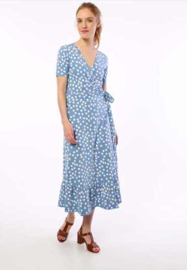 ORGANIC Ibsen dress - Waterblue/ chalk