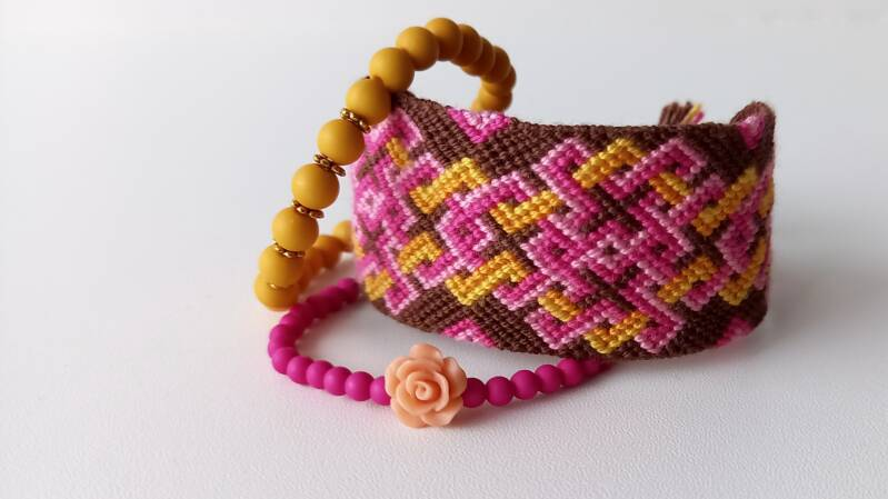 Yellow, pink & Brown