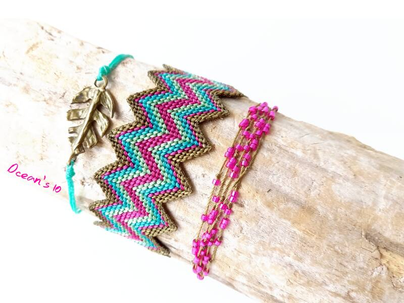 Zigzag army green/blue/pink