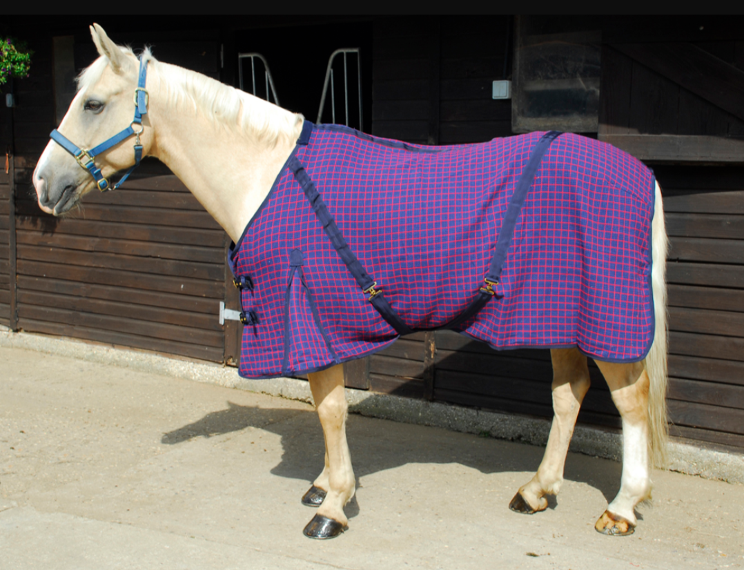 Rhinegold Cotton Mix Summer Sheet Horse Rug in Navy//Baby Blue