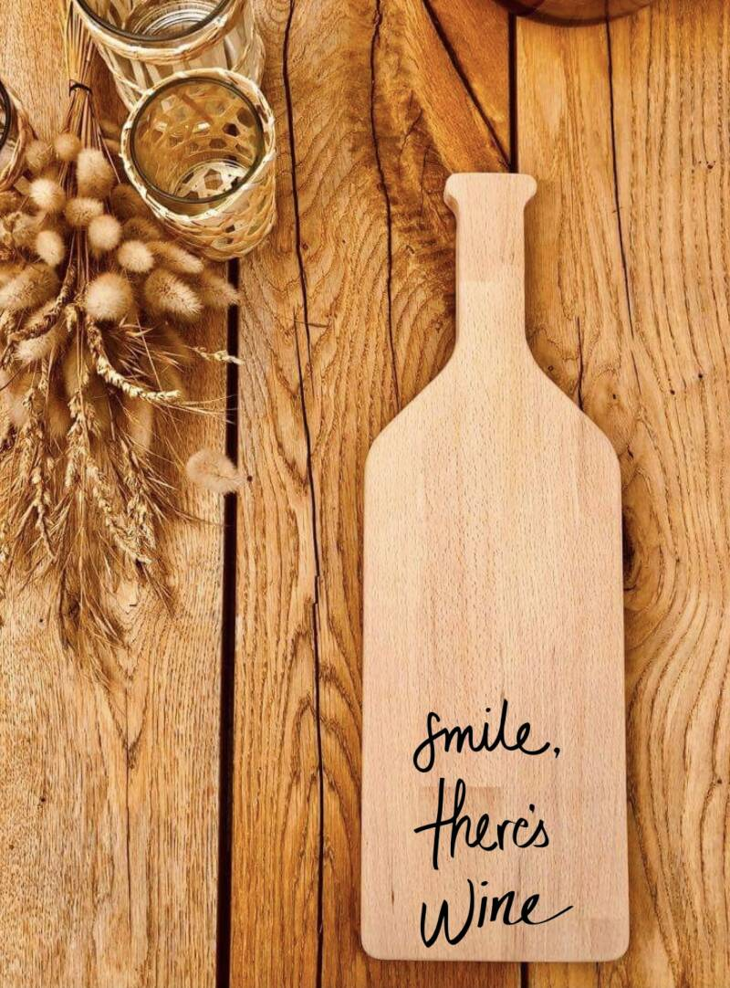 Fles-tapasplank : Smile there's wine