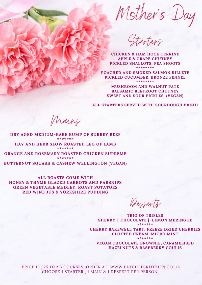 3 Course Mother's Day Meal