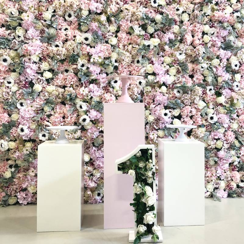 Tropical pink flower wall