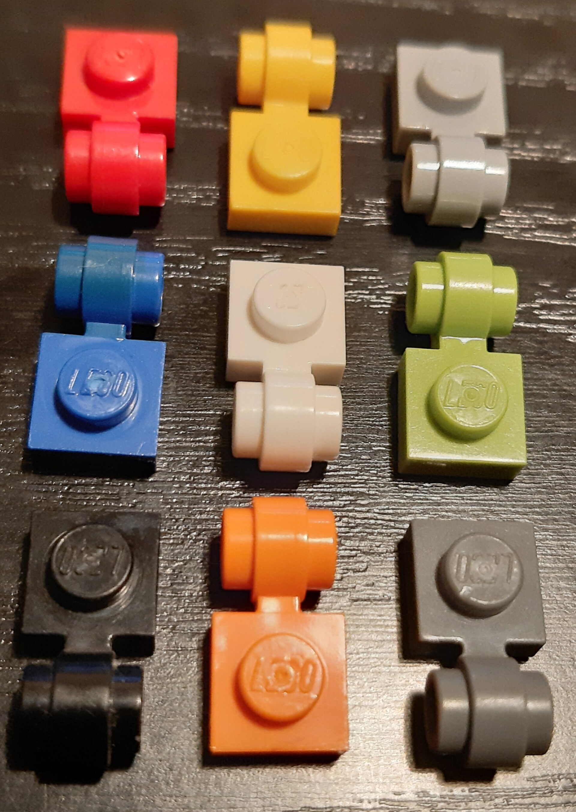 Lego 5 New Dark Bluish Gray Plates Modified 1 x 1 with Clip Light Thick Ring