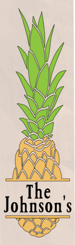 Pineapple with Family Name - 8 x 24_
