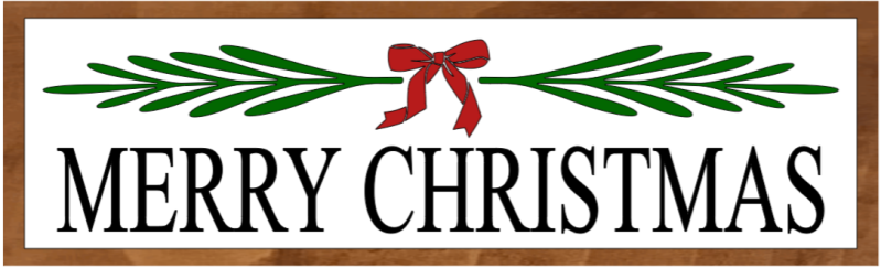 Merry Christmas With Leaves and A Bow - 8x24