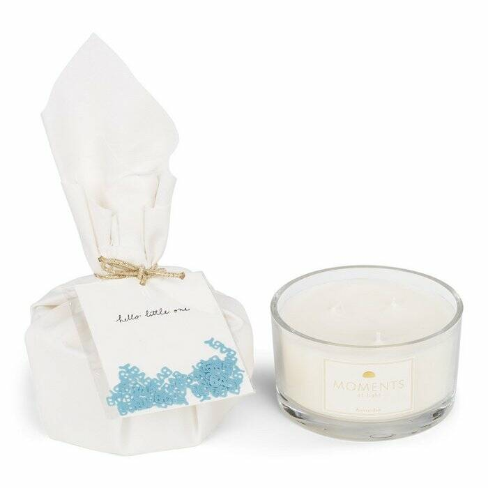MOMENTS of light - Big Gift Wrapped Birth Candle 'Hello Little One'