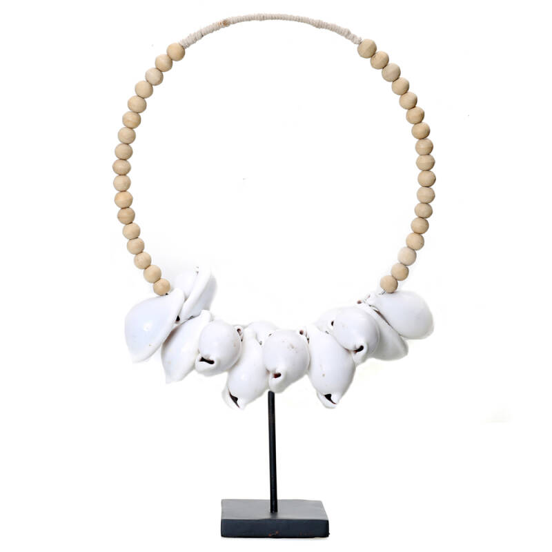 Bazar Bizar - The White Cowrie Necklace Natural Wood on Stand
