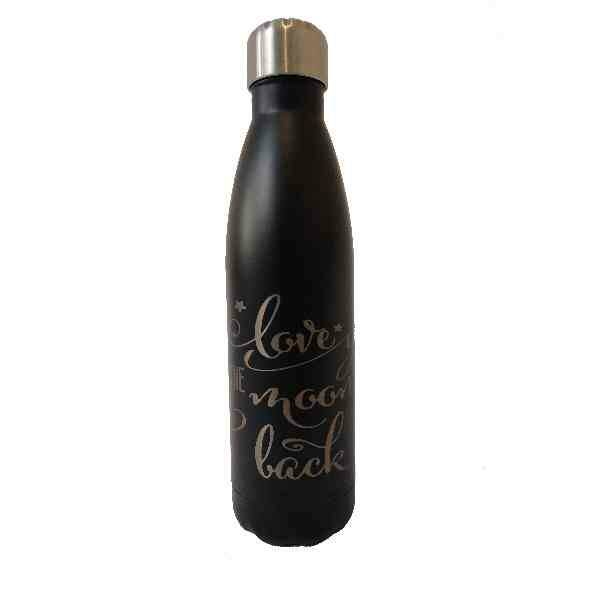 Fles zwart 500 Ml Love you to the moon and back