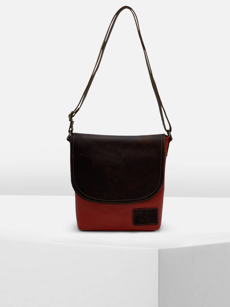 ShoulderBag FLORENCE Scarlet Red/Walnut Brown
