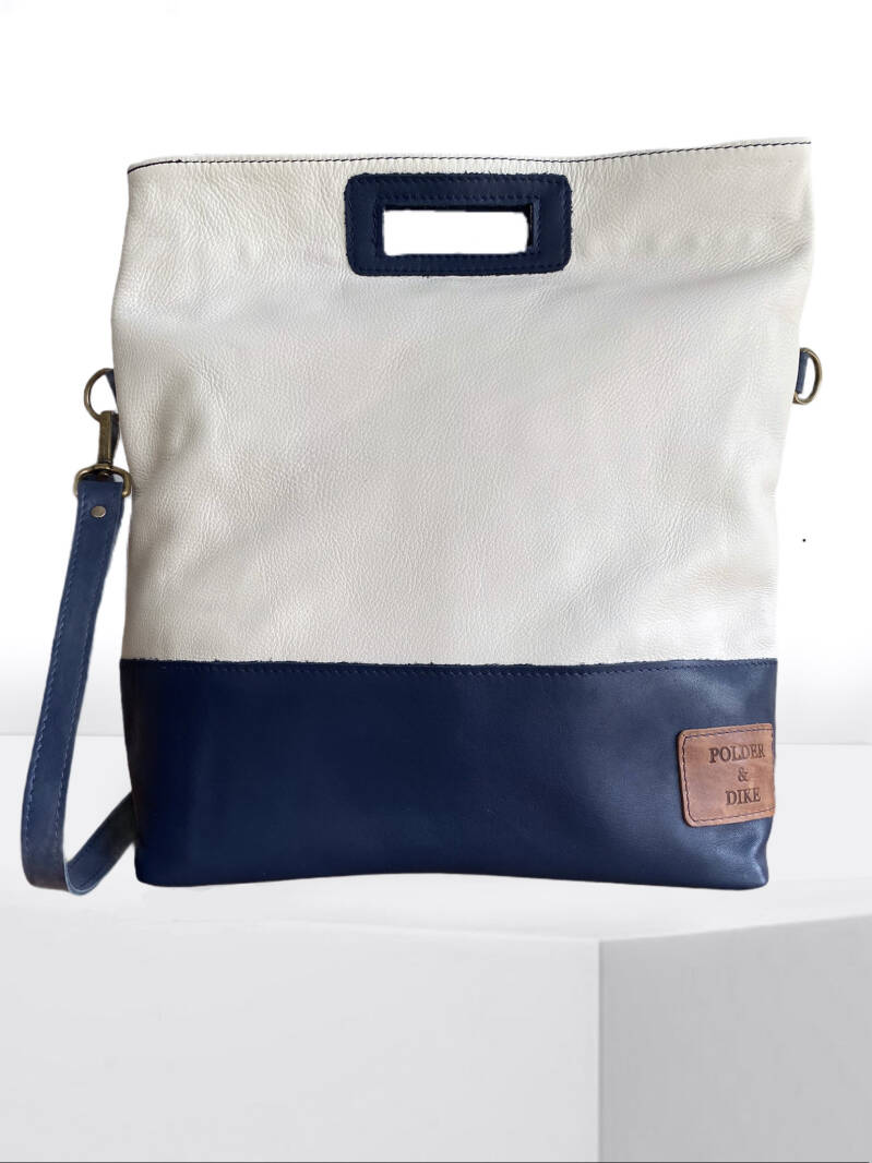 HandBag/ShoulderBag VONDEL Snow White/Denim Blue