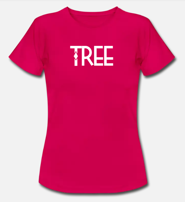 "Dames Bio-T-shirt ""Tree"" - robijn rood"