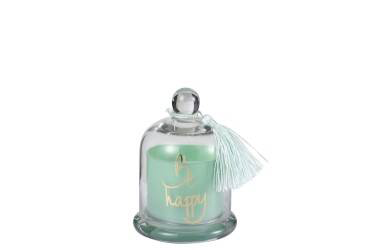 Geurkaars Stolp Happy Glas Groen Small-13u