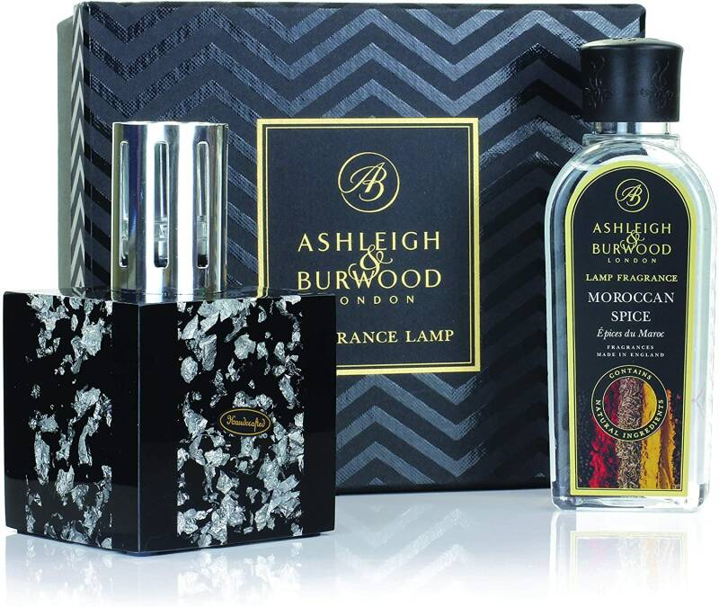 Ashleigh & Burwood Midnight Silver Fragrance Lamp Gift Set with Morrocan Spice Fragrance