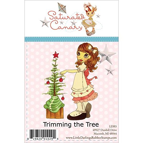 Saturated Canary Little Darlings Unmounted Rubber Stamps, Trimming the Tree