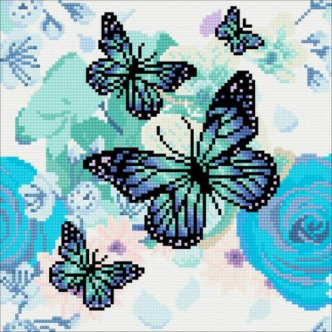 Crystal Art Kit Orchids & Butterflies 30x30cm full square