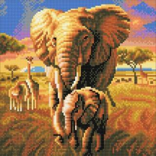 Crystal Art Kit Elephant Savannah 30x30cm full square