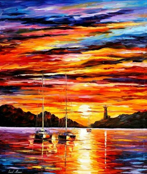 Diamond Painting Set Sunset Round Stones 20x30cm GQ012