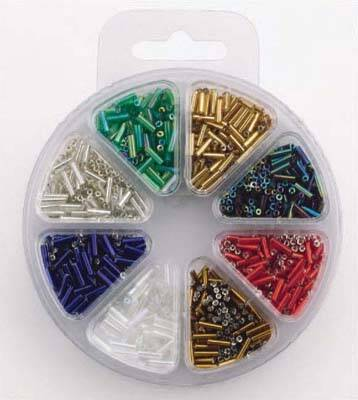 Glass bead kit 8 colors bugles 6 mm
