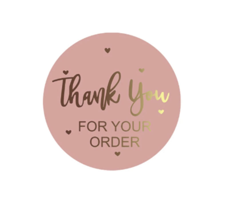 Thank you for your order roze - sluitsticker