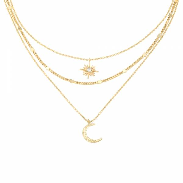 Ketting Chained Star & Moon Goud