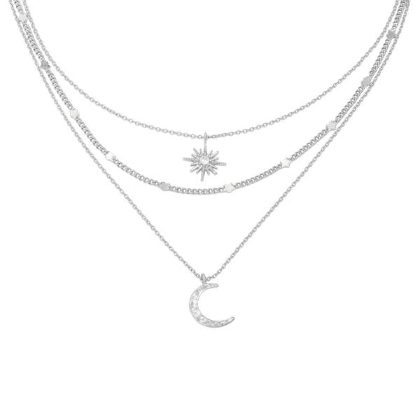Ketting Chained Star & Moon Zilver