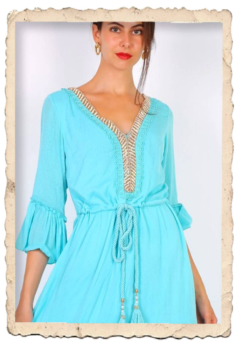 High to Low boho dress aqua