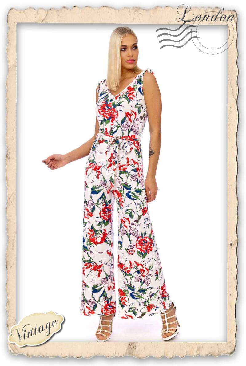 Seventies jumpsuit white floral