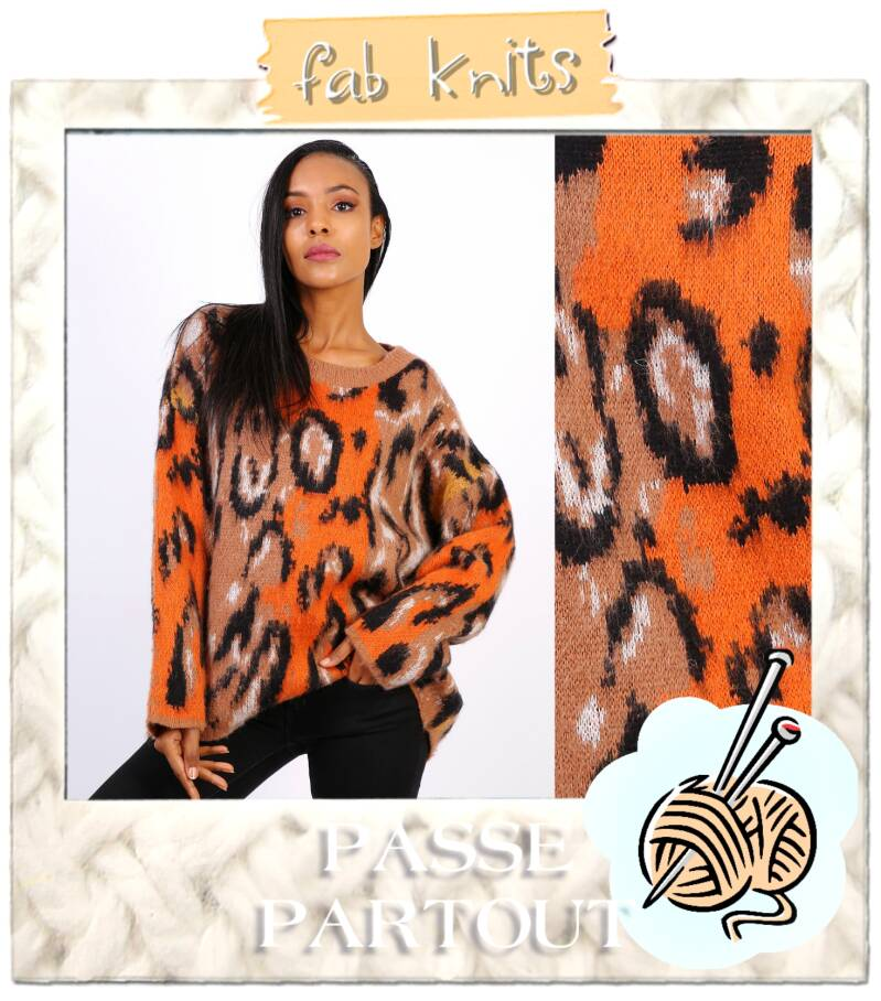 Trui leopard orange