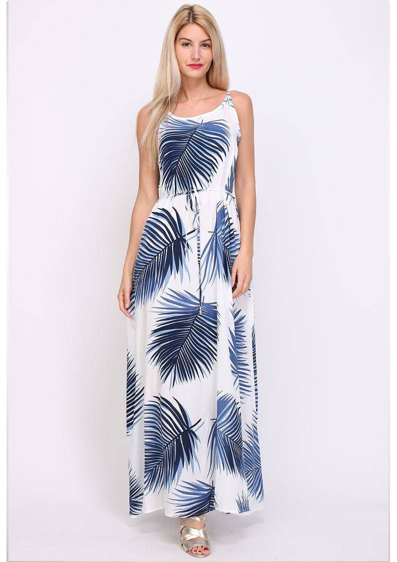 Queen's blue palm maxi dress