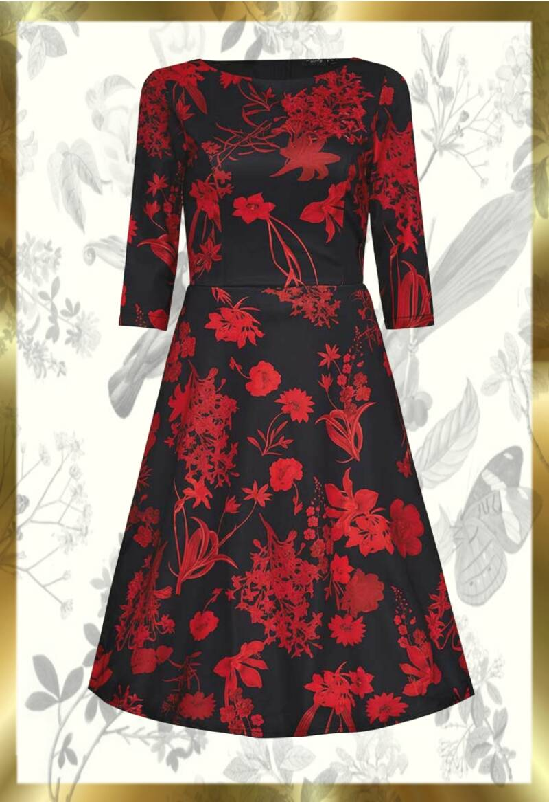 Red bouquet vintage dress