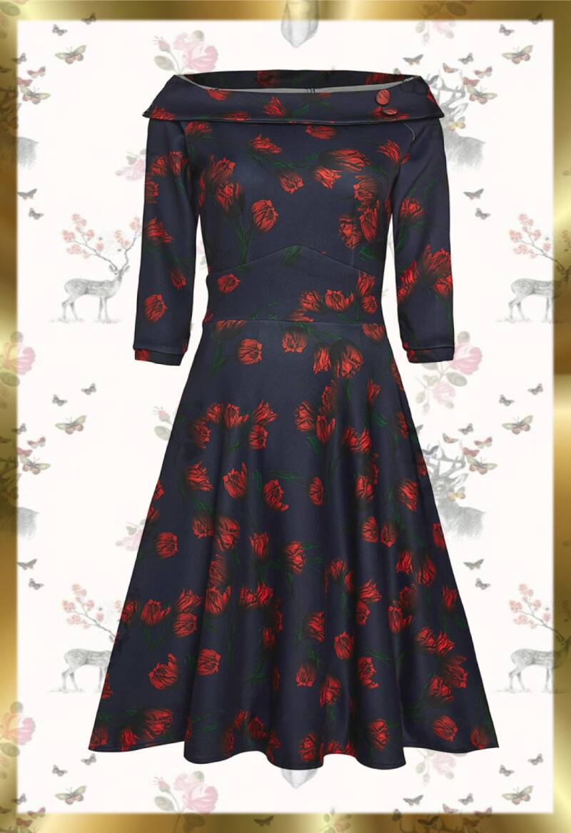 Red tulip vintage dress