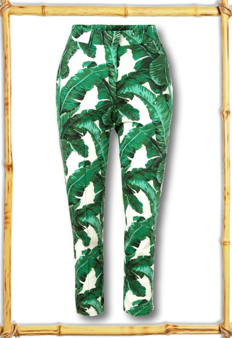 Tropical leaves trousers