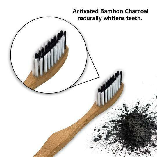 4 Bamboo toothbrushes enriched with activated carbon