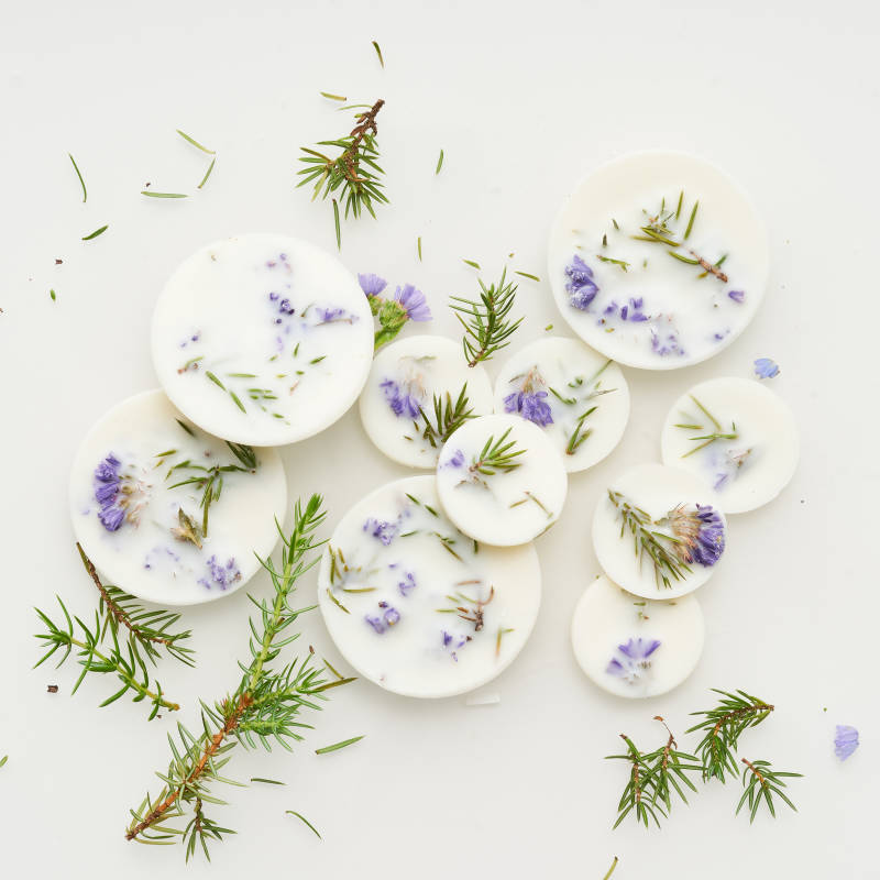 Juniperus & Limonium fragrant soy-wax scented discs with the scent of wild Juniper berry