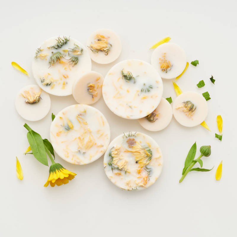 Marigold flowers scented soy wax rounds