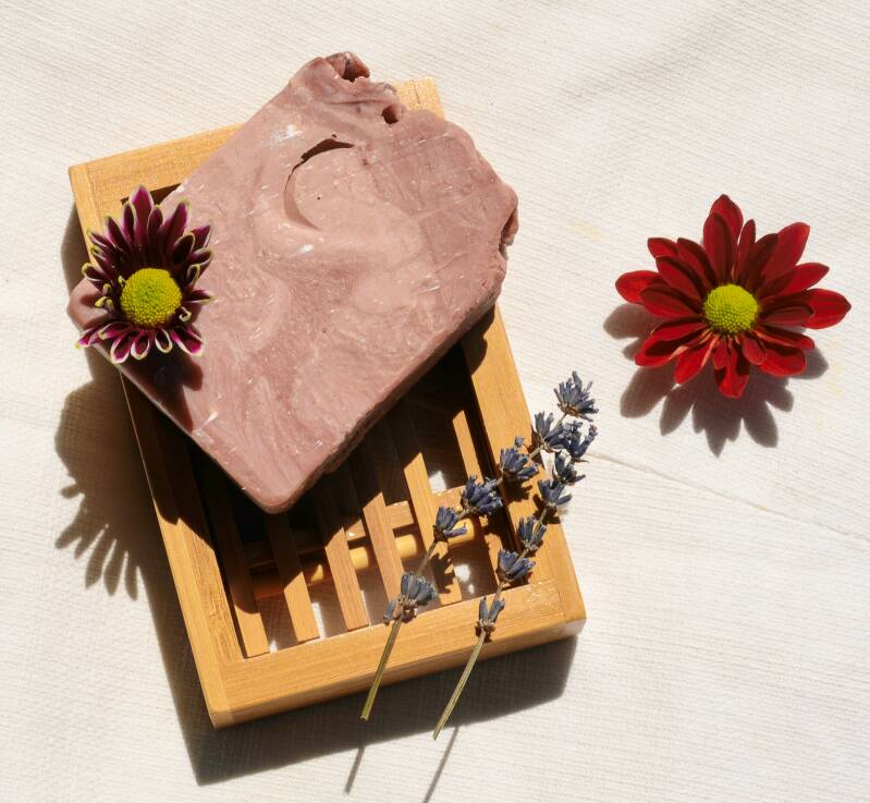 Natural body soap with a scent of wild lavender and rose