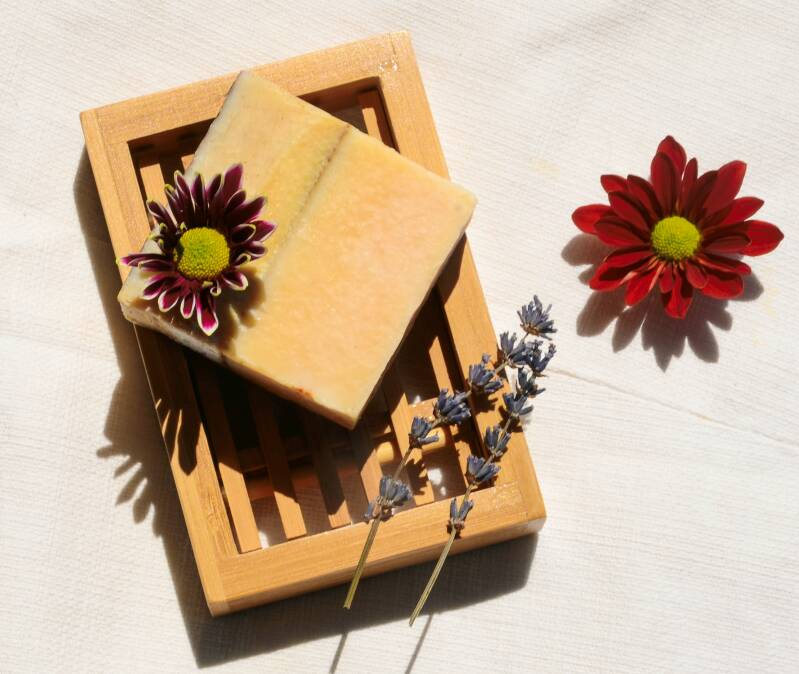 Natural body soap with orange and cinnamon