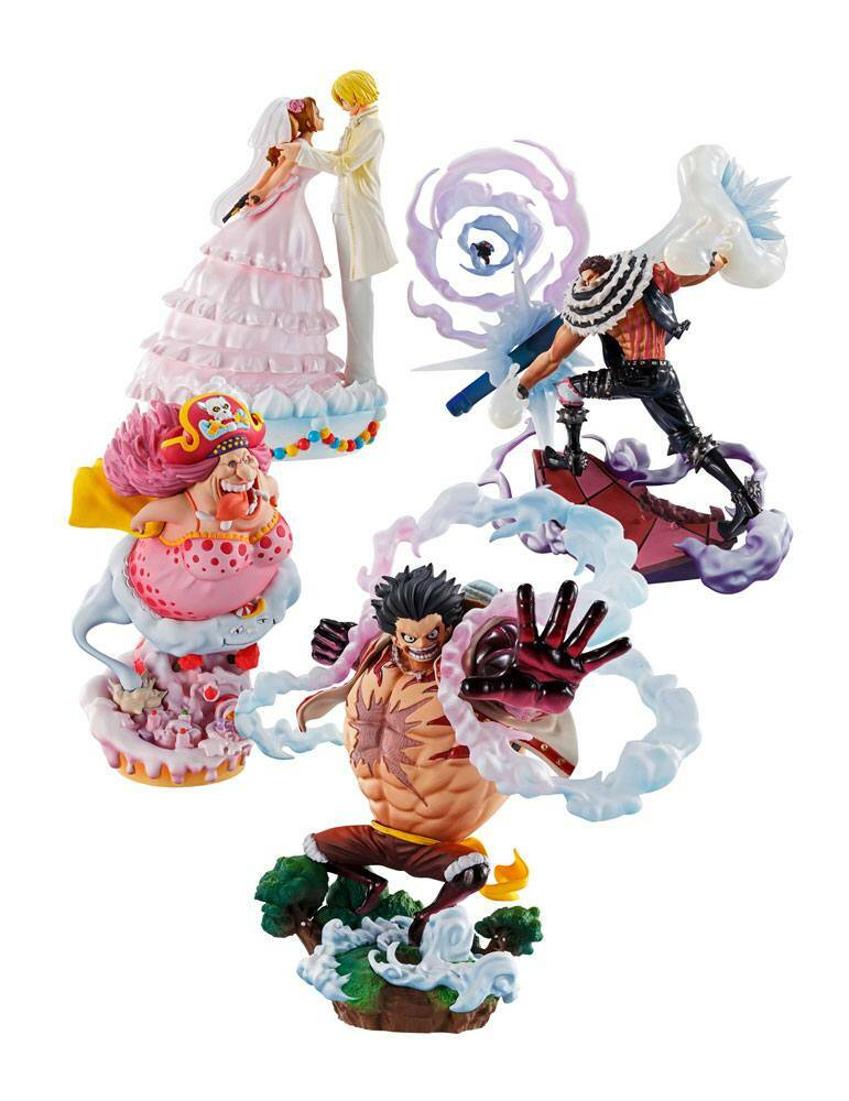 One Piece Log Box Trading Figure 4-Pack Re: Birth Whole Cake Island Ver. 8 cm