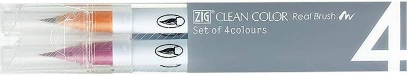 Kuretake ZIG Clean Color Real Brush - 4 Stuks / Pure kleuren