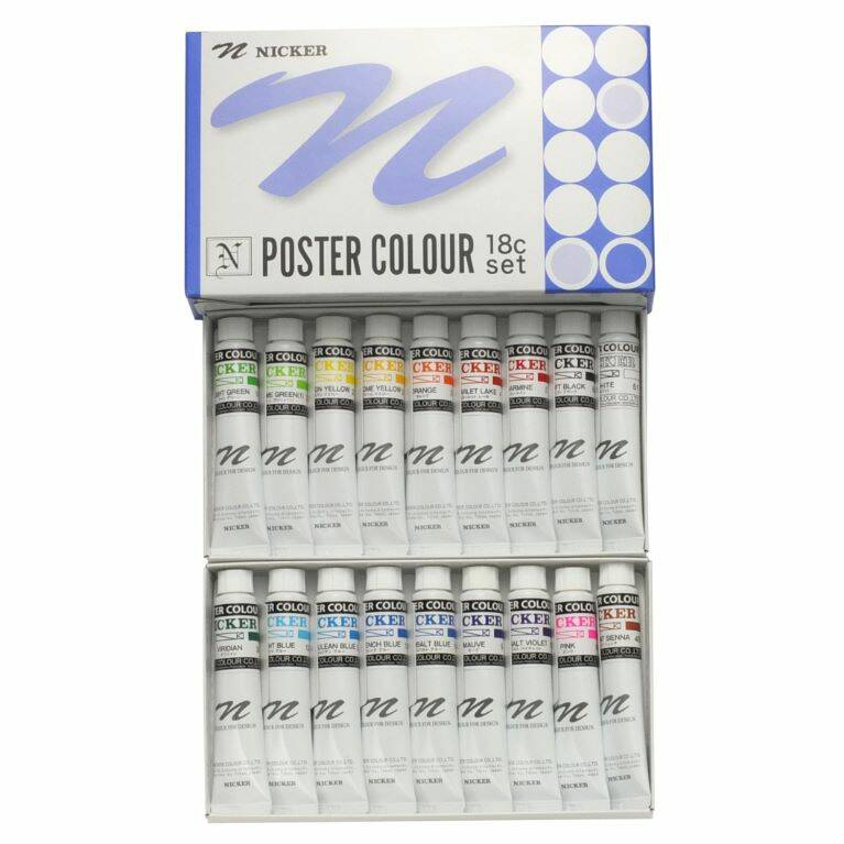 Nicker Verf : Poster Colour 20ml - Set 18 stuks | PCT18S
