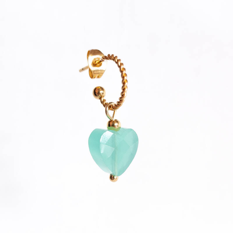Oorbel Candy Turquoise Blue Goud (1 piece)