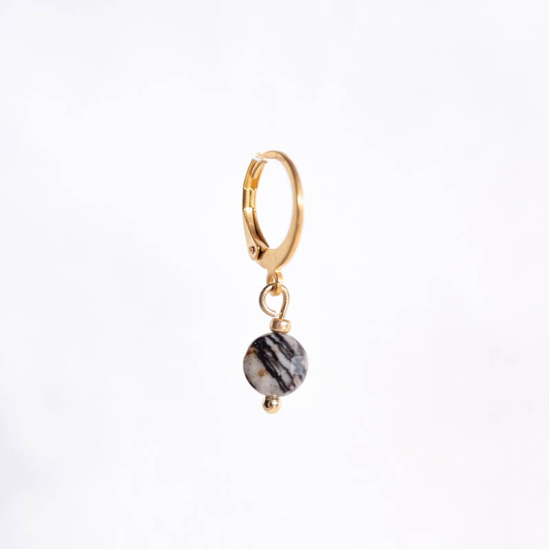 Oorbel Just Marble Black Goud (1 piece)