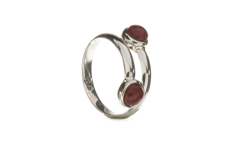 Ring  zilver jaspis rood