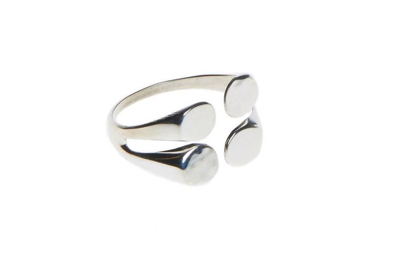 Ring zilver 4 dots